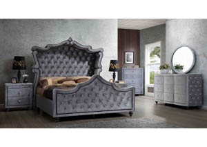 Hudson Grey Velvet Queen Canopy Bed w/Dresser, mirror, Chest, & Night Stand