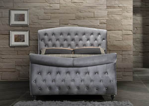 Hudson Grey Velvet King Sleigh Bed