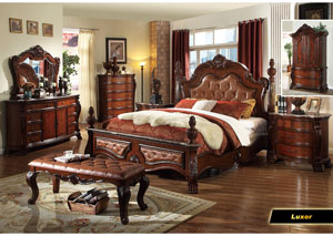 Luxor Upholstered King Poster Bed w/Dresser, Mirror, Drawer Chest & Nightstand