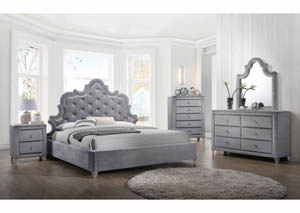 Sophie Grey Velvet King Bed w/Dresser, Mirror, Chest & Nightstand