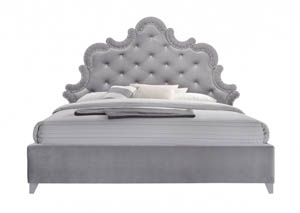 Sophie Grey Velvet Queen Bed