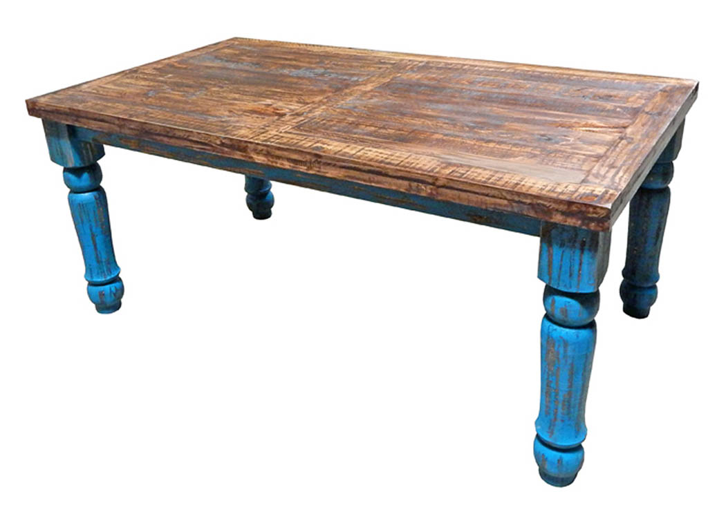 Turquoise Scraped 6' Dining Table,Million Dollar Rustic