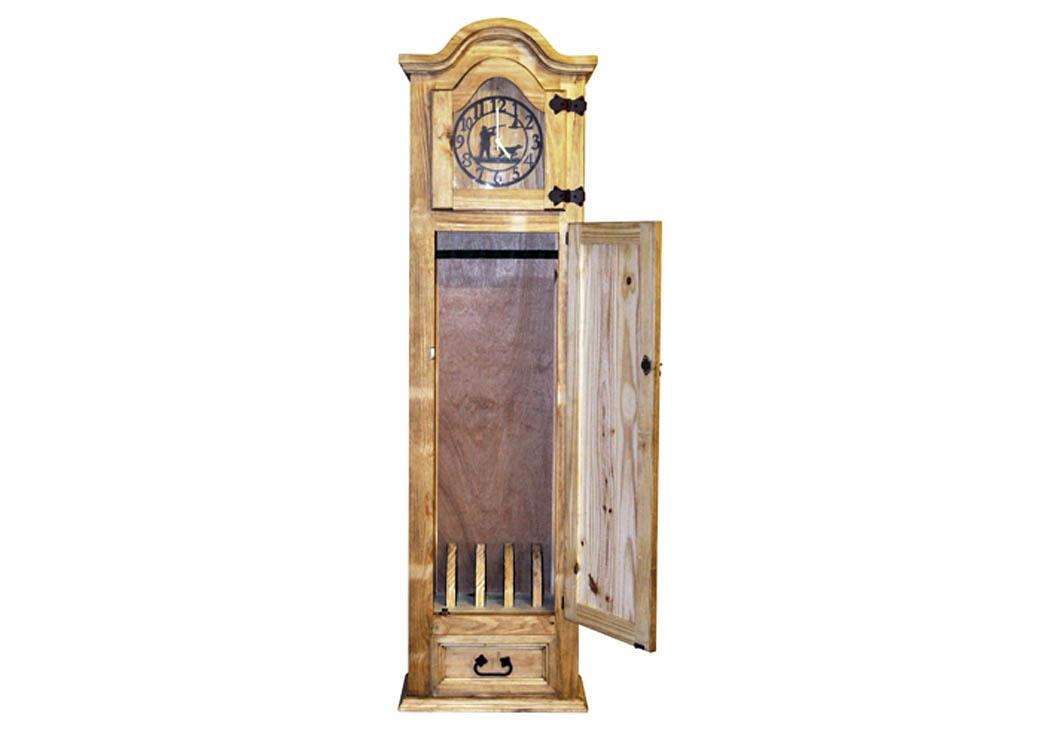 Gun Grandfather Clock W/5 Gun Capacity,Million Dollar Rustic