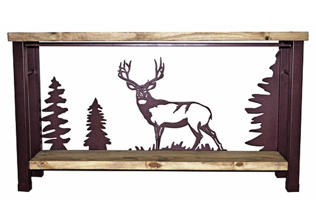 Deer Sofa Table W/Iron Accents U0026 Shelf,Million Dollar Rustic