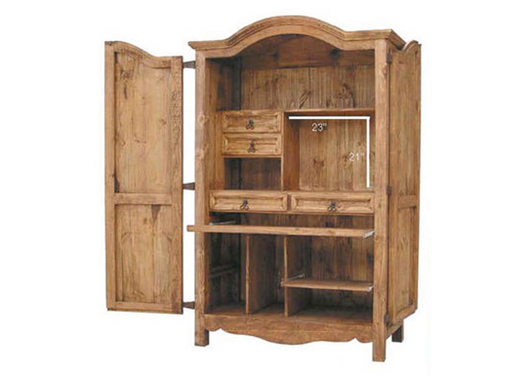 Computer Armoire w/Organized Compartments,Million Dollar Rustic
