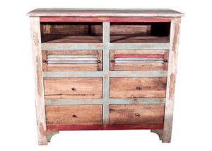 Multi Color Louvered TV 6 Drawer