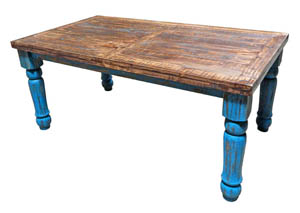 Turquoise Scraped 6' Dining Table