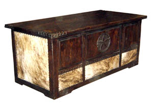 Dark Rope Corner Cowhide Desk w/Star