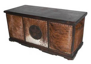 Dark Cowhide Executive Desk w/Star No Rope