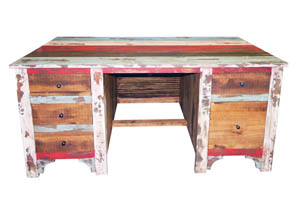 Multicolored Louvered Executive Desk w/5 Drawers