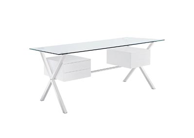 Image for Abeyance White Glass Top Office Desk