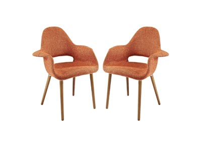 Image for Aegis Orange Arm Dining Chair [Set of 2]