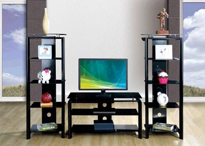 Black Steel Tempered Glass 50' TV Stand w/Wire Management Control