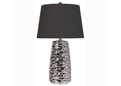 Ceramic Chrome Table Lamp w/Black Shade (Set of 2)