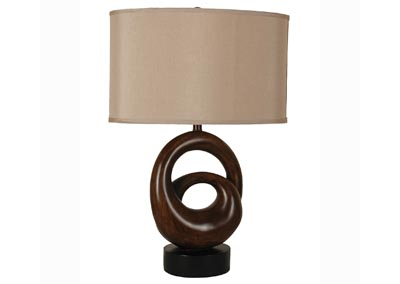 Black and Brown Shaped Lamp w/Oval Hardback Shade (Set of 2)