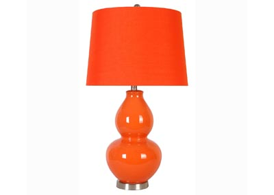 Orange Ceramic Lamp w/Orange Shade (Set of 2)