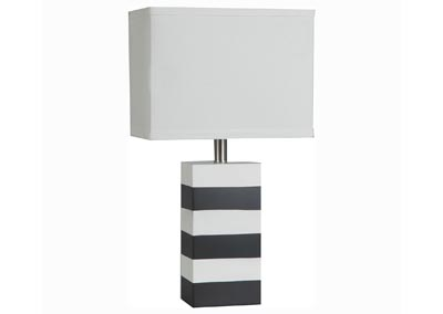 Polyresin Black and White Stripe Table Lamp w/White Shade (Set of 2)