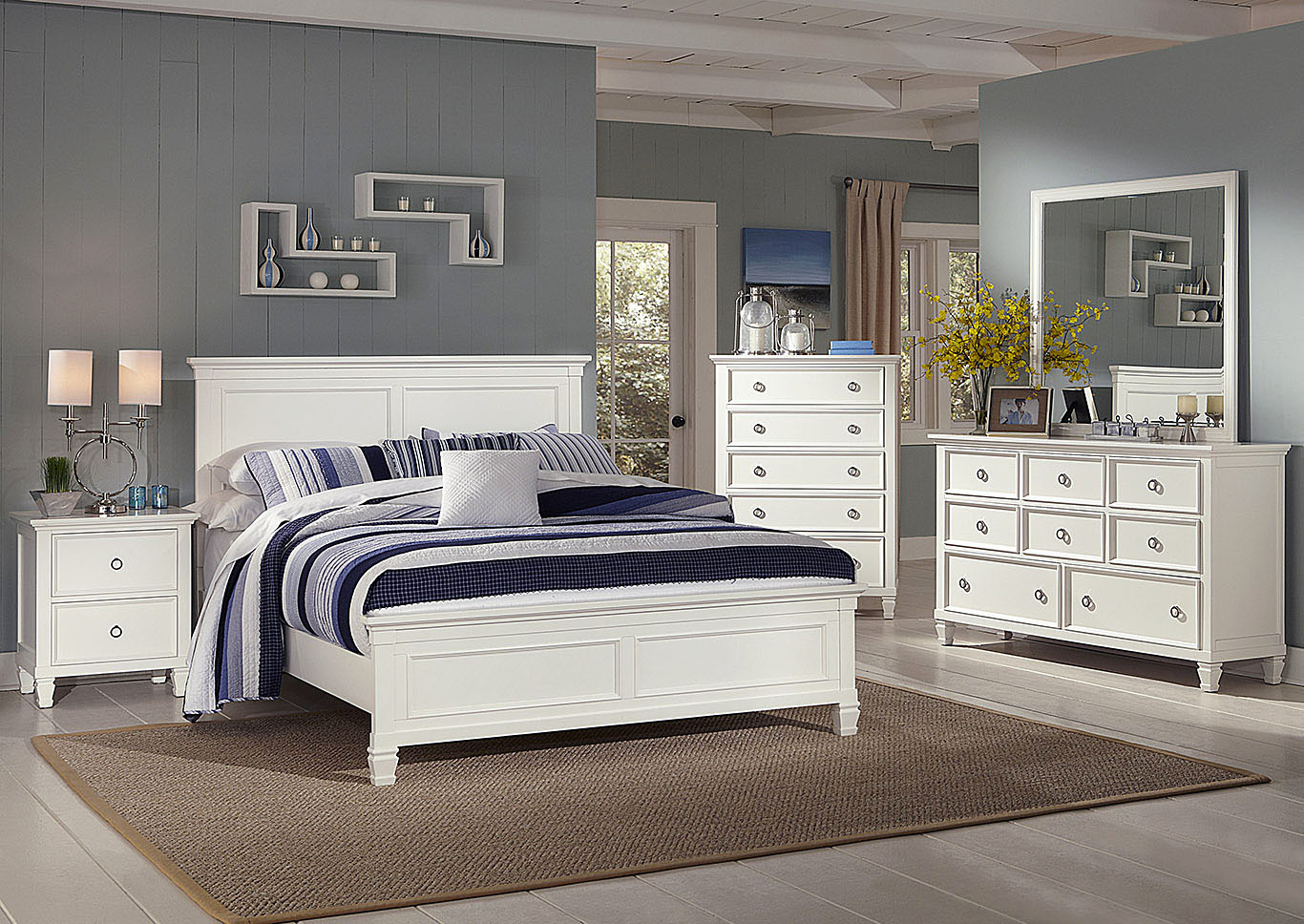 Tamarack White King Panel Bed,New Classic