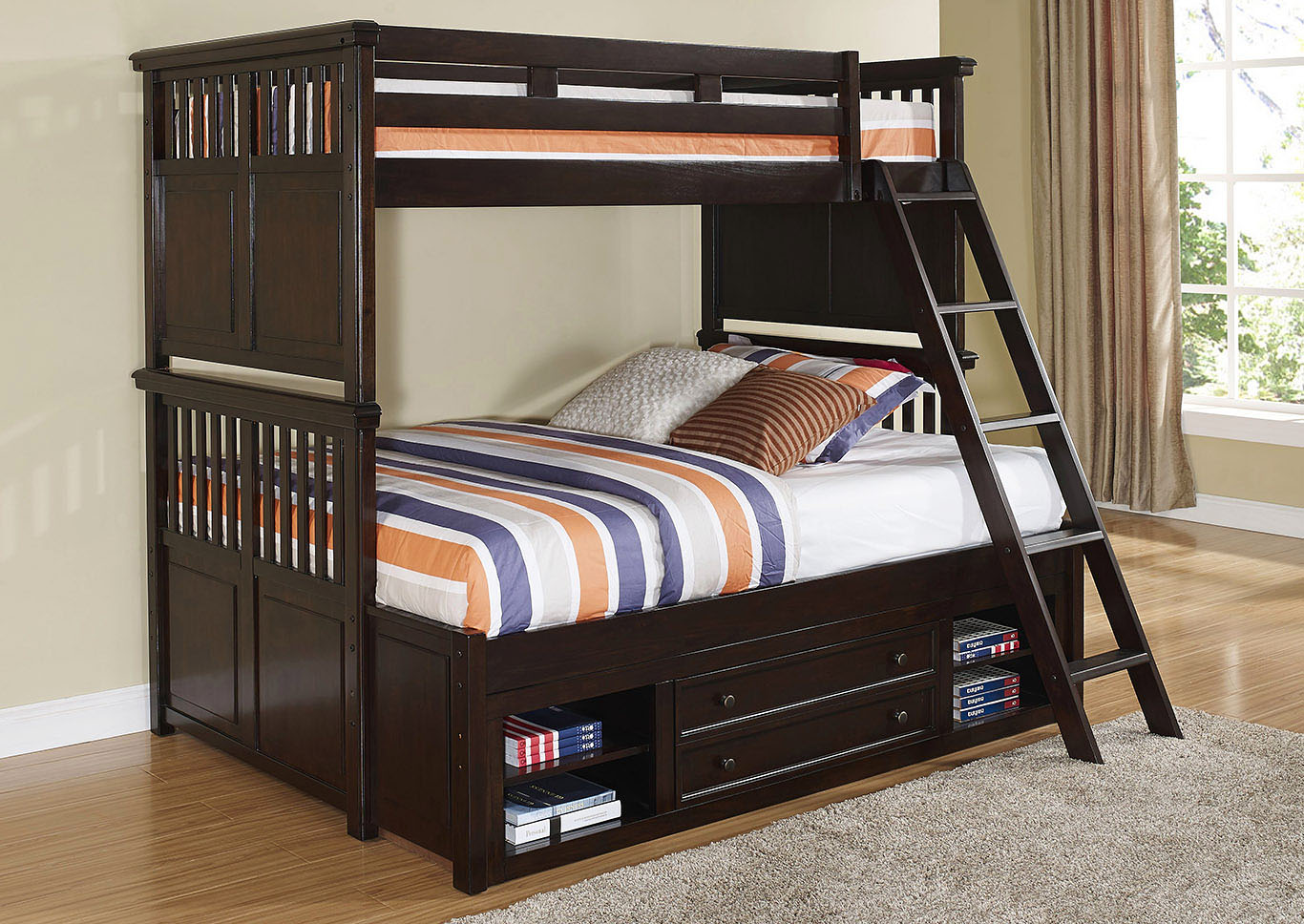 Canyon Ridge Chestnut Twin/Full Storage Bunk Bed w/Dresser and Mirror,New Classic