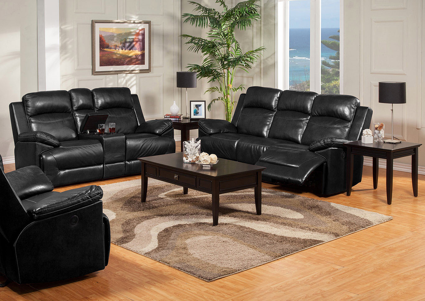 Great Rooms Furniture and Mattresses Cortez Black Leather Dual ...