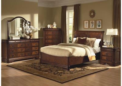 Sheridan Burnished Cherry Queen Sleigh Storage Bed