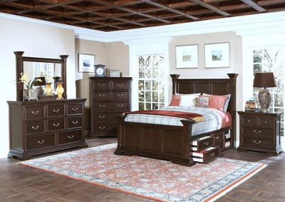 Timber City Sable King Poster Bed w/Dresser and Mirror
