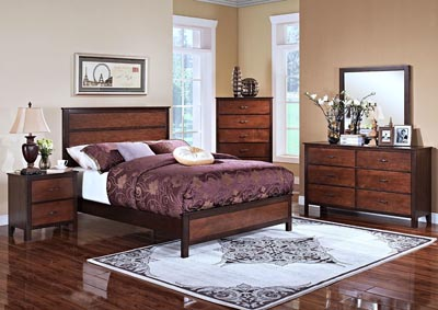 Bishop Two Tone Chestnut & Ginger King Panel Bed w/Dresser and Mirror