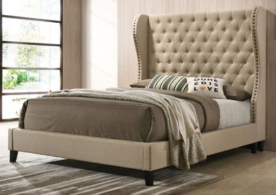 Savion Linen Upholstered Platform Full Bed