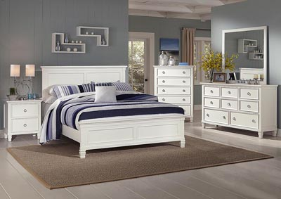 TAMARACK WHITE QUEEN BED W/ DRESSER & MIRROR