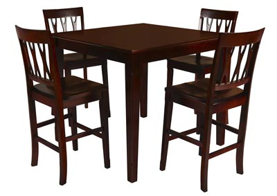 Abbie Bordeaux Counter Height Dining Table w/4 Counter Chairs
