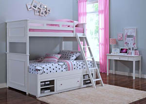Megan White Twin/Full Storage Bunk Bed w/Dresser and Mirror