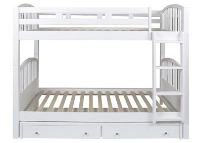 Bayfront White Twin Spindle Storage Bunk Bed