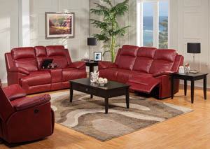 Cortez Red Leather Power Reclining Sofa U0026 Power Reclining Glider Loveseat W/ Console