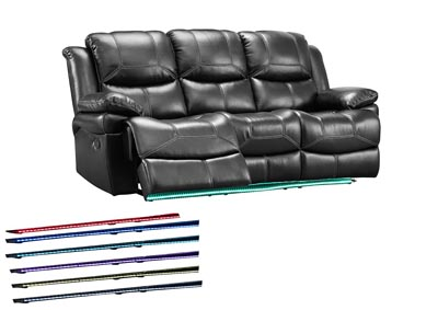 FLYNN BLACK SOFA W/ LIGHTED BASE AND POWER