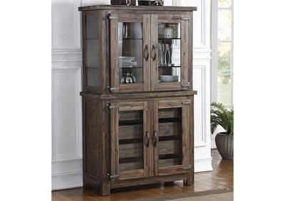 Tuscany Park Vintage Gray Curio Cabinet w/Wood Doors