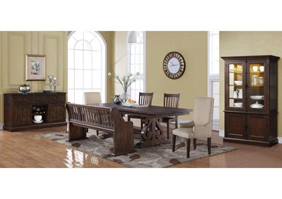San Juan Aged Espresso Extension Dining Table w/2 Side Chairs, 2 Upholstered Arm Chairs and Bench