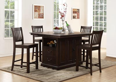 San Juan Aged Espresso Island Table w/4 Counter Chairs
