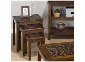 Image for Baroque Brown 3-Piece Nesting Chairside Table w/Mosaic Tile Inlay