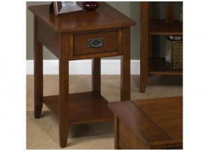 Image for Mission Oak Chairside Table w/1 Drawer and 1 Shelf
