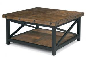 Carpenter Square Cocktail Table w/Metal Base and Wood Plank Top