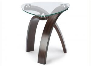 Image for Allure End Table w/Glass Top and Bent Wood Legs