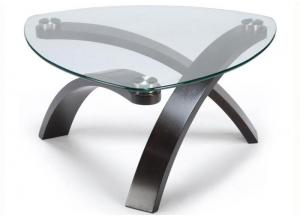 Image for Allure Cocktail Table w/Glass Top and Bent Wood Legs