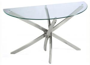 Image for Zila Demilune Sofa Table w/Tempered Glass Top and Strut Base