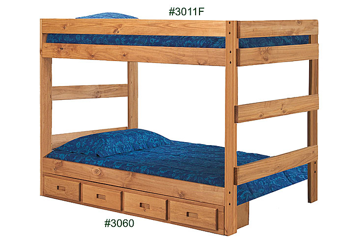 Full/Full One-Piece Bunk Bed, Unfinished,Pine Crafter Furniture