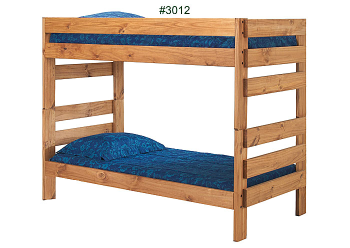 Twin/Twin Stackable Bunk Bed, Unfinished,Pine Crafter Furniture