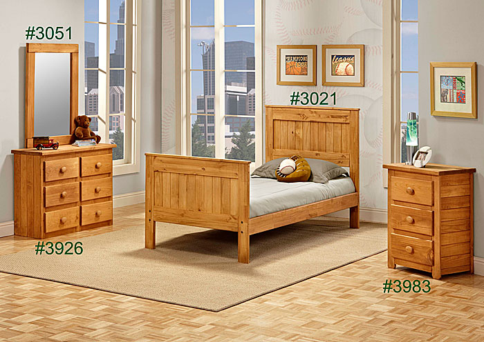 Twin Mates Bed, Unfinished,Pine Crafter Furniture