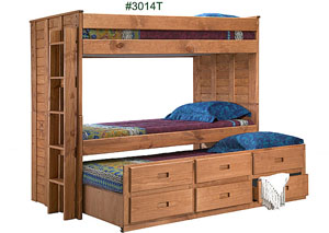 Twin/Twin Bunk Bed with Six Drawer Under Bed Unit, Unfinished, Recessed Pull Drawer Handle