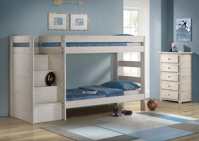 Image for Antique White Reversible Staircase Bunk Bed