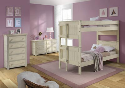 Image for Antique White Full/Full Stackable Bunk Bed