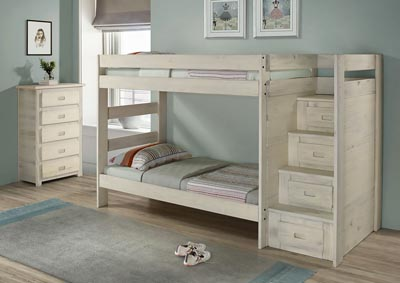 Image for Antique White Staircase Bunk Bed